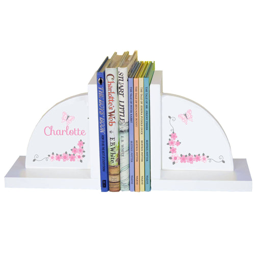 Personalized White Bookends with Pink and Gray Butterflies design