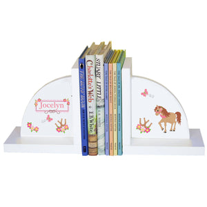 Personalized White Bookends with Ponies Prancing design