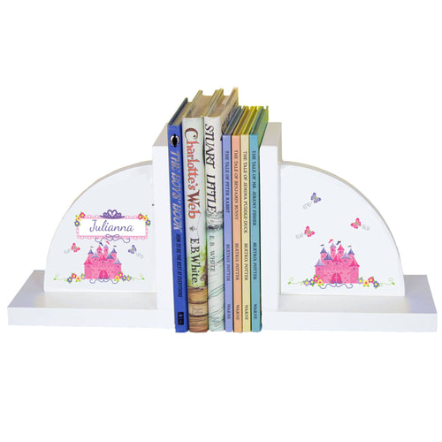 Personalized White Bookends with Princess Castle design