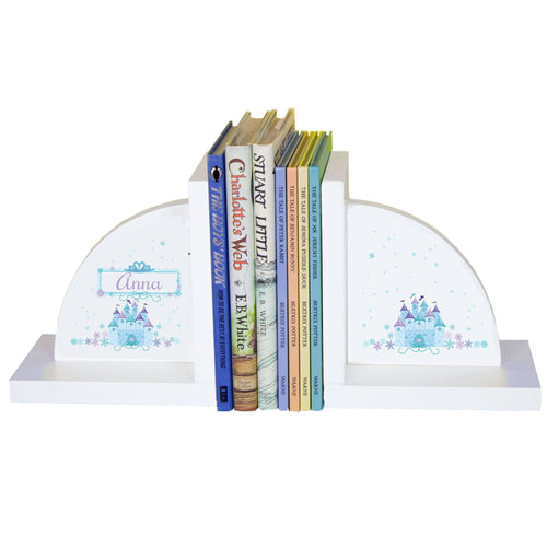 Personalized White Bookends with Ice Princess design