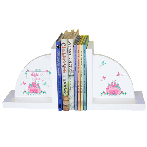 Personalized White Bookends with Pink Teal Castle design