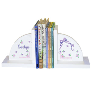 Personalized White Bookends with Lacey Bow design
