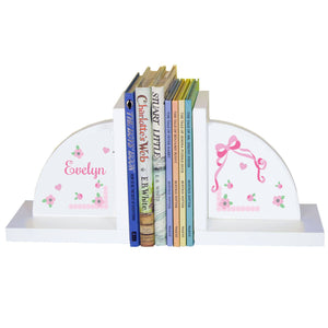 Personalized White Bookends with Pink Bow design