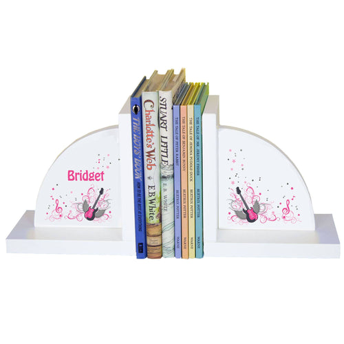 Personalized White Bookends with Pink Rock Star design