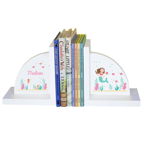 Personalized White Bookends with Brunette Mermaid Princess design