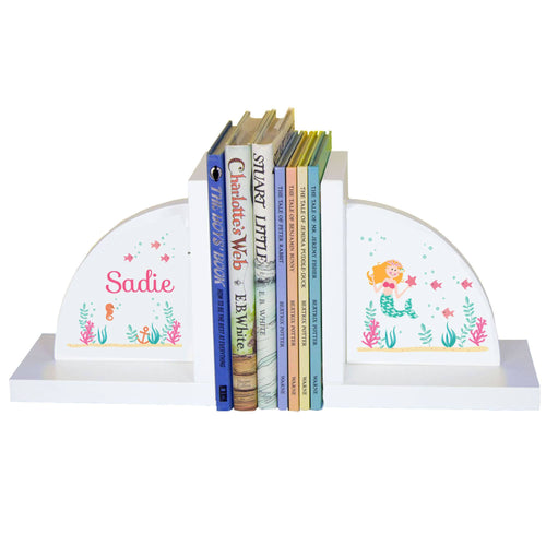 Personalized White Bookends with Blonde Mermaid Princess design