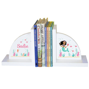Personalized White Bookends with African American Mermaid Princess design