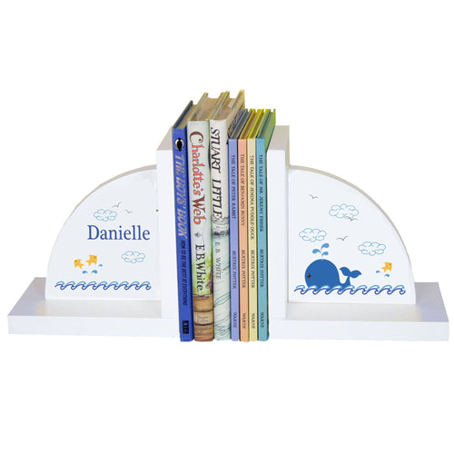 Personalized White Bookends with Blue Whale design