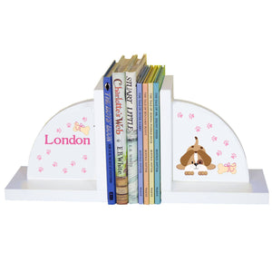 Personalized White Bookends with Pink Puppy design