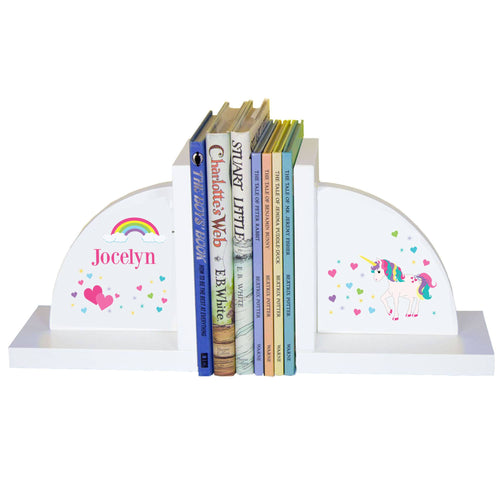 Personalized White Bookends with Unicorn design