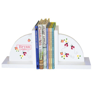 Personalized White Bookends with Ladybugs Pink design