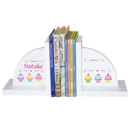 Personalized White Bookends with Cupcake design
