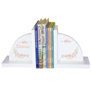 Personalized White Bookends with Blush Floral Garland design