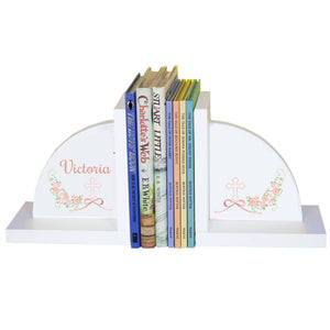 Personalized White Bookends with Holy Cross Blush Floral Garland design