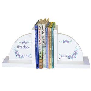 Personalized White Bookends with Lavender Floral Garland design