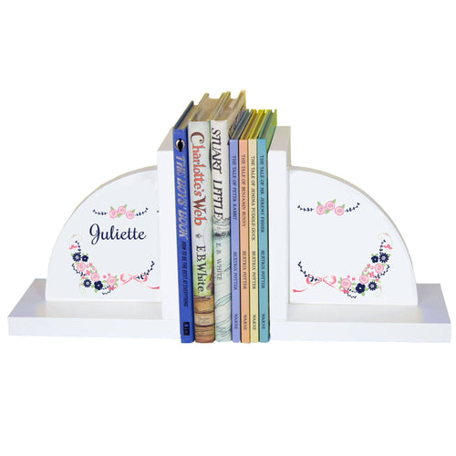 Personalized White Bookends with Navy Pink Floral Garland design