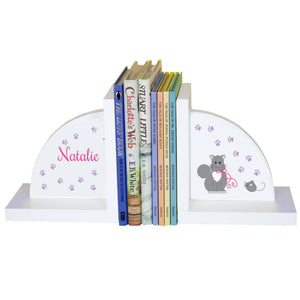 Personalized White Bookends with Kitty Cat design
