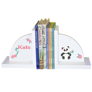 Personalized White Bookends with Panda design