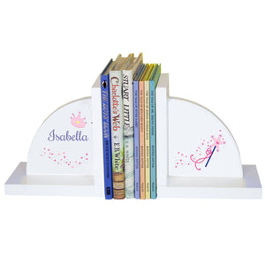 Personalized White Bookends with Fairy Princess design