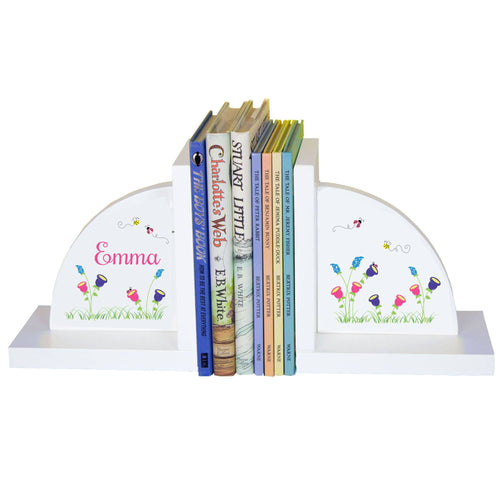 Personalized White Bookends with English Garden design