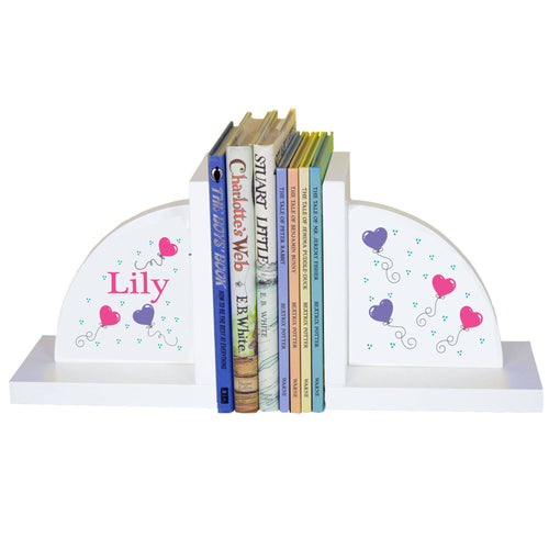 Personalized White Bookends with Heart Balloons design