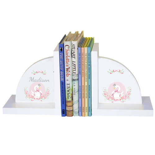 Personalized White Bookends with Swan design