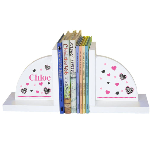 Personalized White Bookends with Groovy Zebra design