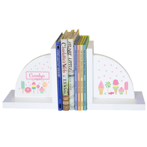 Personalized White Bookends with Sweet Treats design