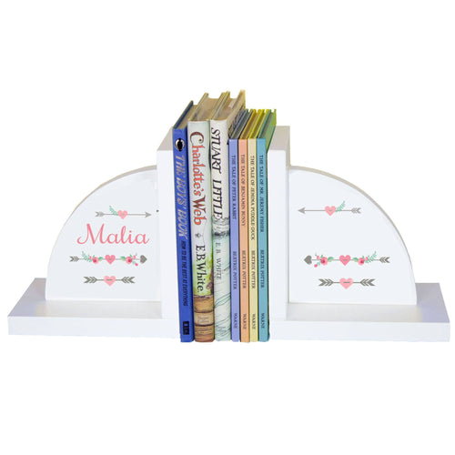 Personalized White Bookends with Girl Tribal Arrows design