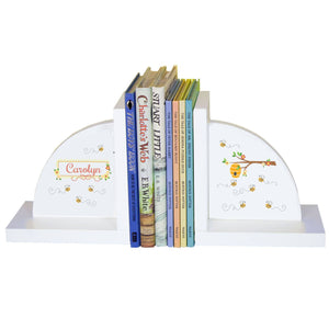 Personalized White Bookends with Honey Bees design