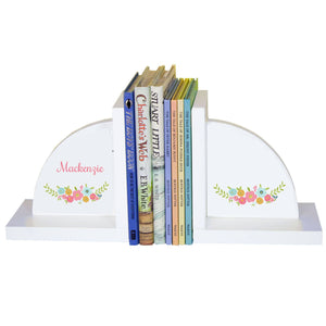 Personalized White Bookends with Spring Floral design