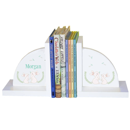 Personalized White Bookends with Classic Bunny design