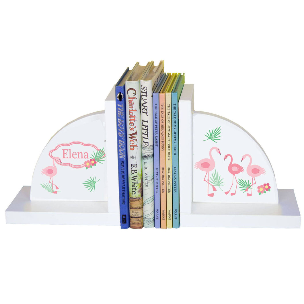Personalized White Bookends with Palm Flamingo design