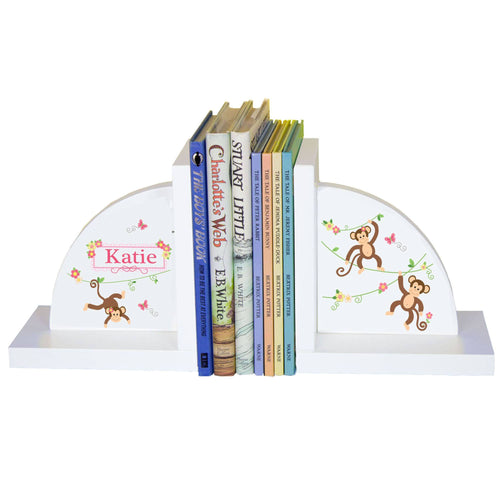 Personalized White Bookends with Monkey Girl design