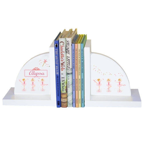 Personalized White Bookends with Ballerina Blonde design