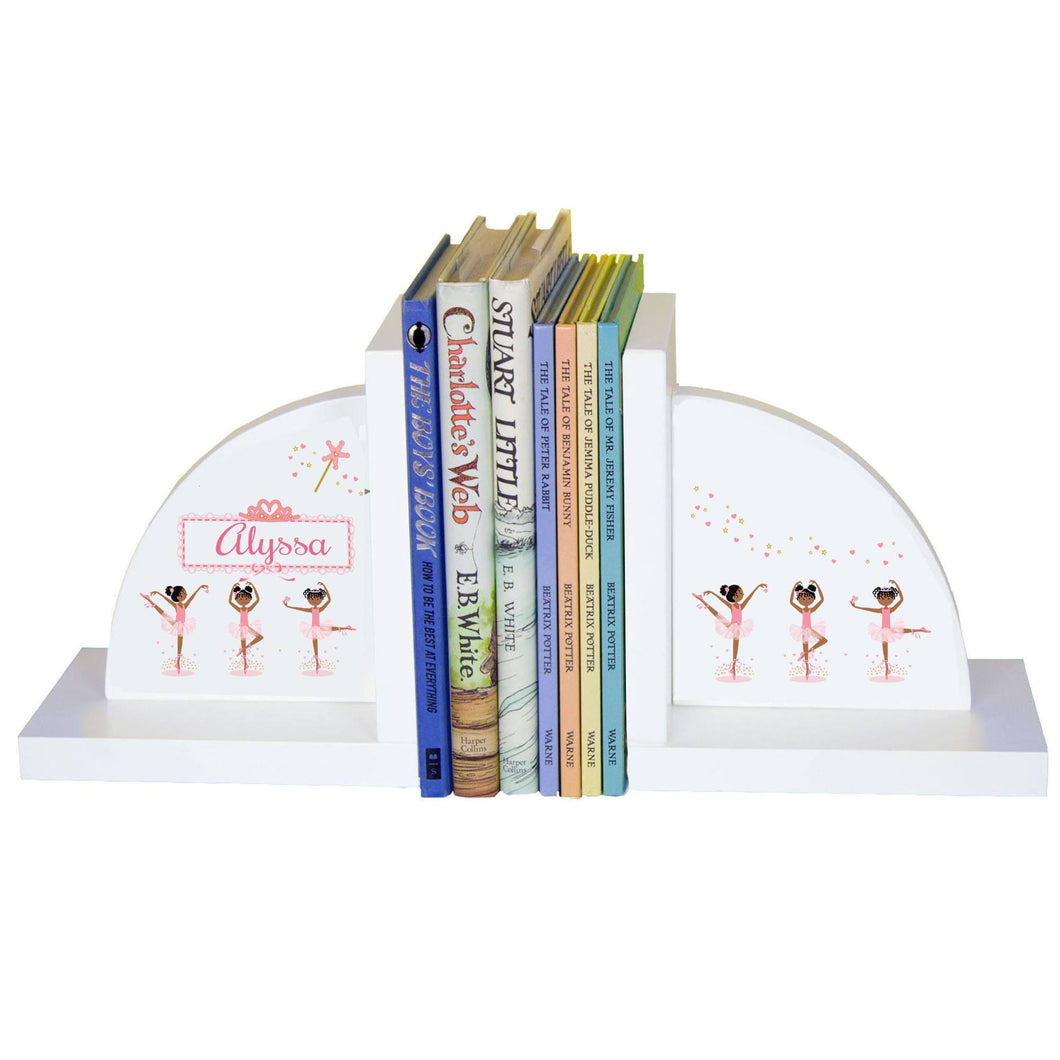 Personalized White Bookends with Ballerina African American design