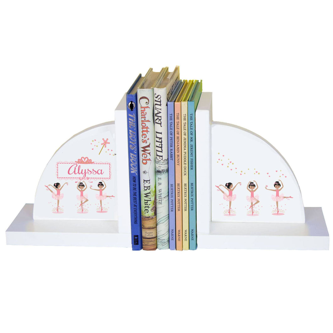 Personalized White Bookends with Ballerina Black Hair design