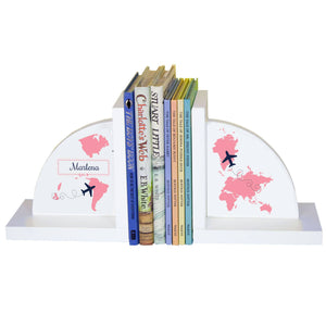 Personalized White Bookends with World Map Pink design