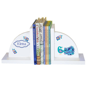 Personalized White Bookends with Peacock design