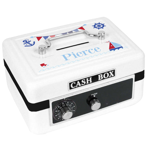 Personalized White Cash Box with Boys Sailboat design