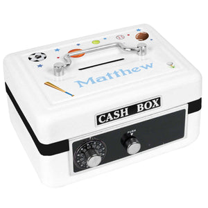Personalized White Cash Box with Sports design