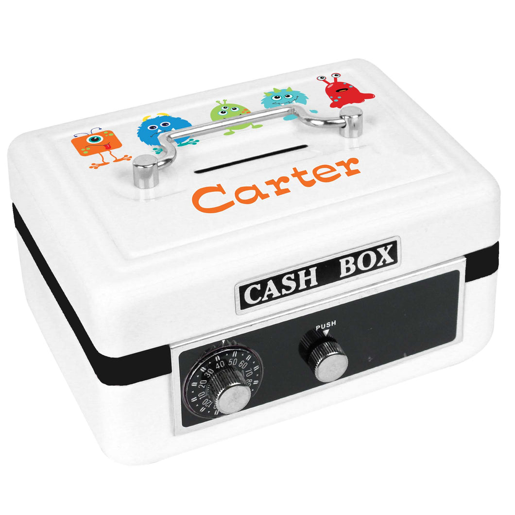 Personalized White Cash Box with Monster Mash design