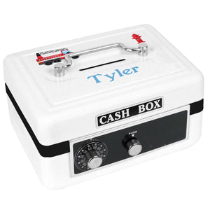 Personalized White Cash Box with Fire Truck design