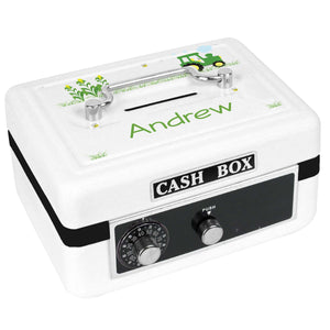 Personalized White Cash Box with Green Tractor design