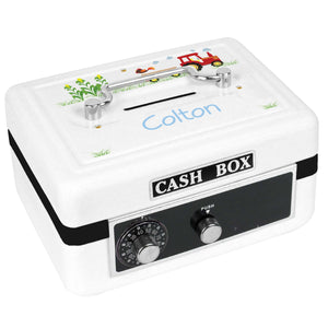 Personalized White Cash Box with Red Tractor design