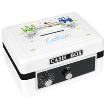 Personalized White Cash Box with Blue Tractor design
