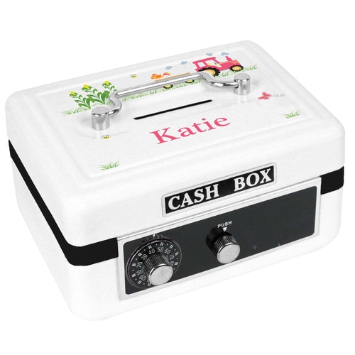 Personalized White Cash Box with Pink Tractor design