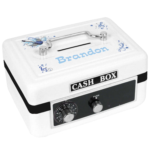 Personalized White Cash Box with Blue Rock Star design