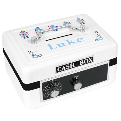 Personalized White Cash Box with Robot design