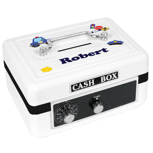 Personalized White Cash Box with Police design